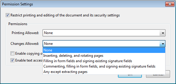 Screenshot: Setting permission restrictions for certificate security in Acrobat