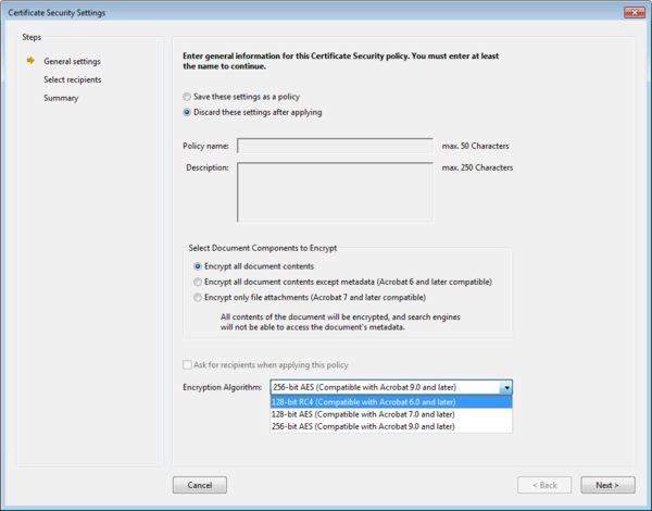 Screenshot: Acrobat's certificate security dialog with choice of PDF encryption algorithms at the bottom