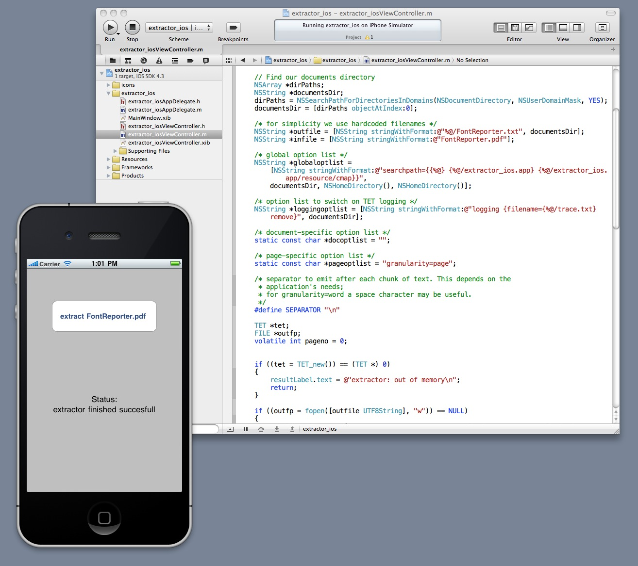 Screenshot: development and emulation of a mobile application with TET