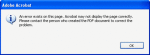 Screenshot: Acrobat error message for damaged document